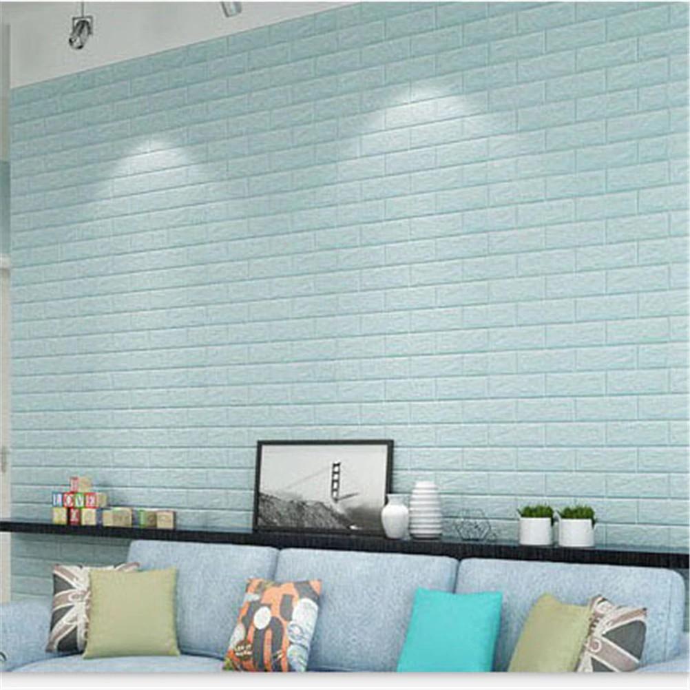 Wallpaper Dengan Bahan Busa Dan Gambar Motif Batu Bata 3D Ukuran 70x40cm Untuk Dekorasi Rumah