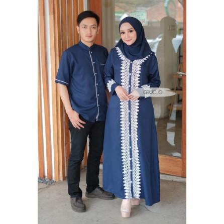Couple Gamis Adam Hawa Couple Alwa Syari Couple Busana Muslim Kombinasi Renda Motif Bunga Couple2019 Shopee Indonesia