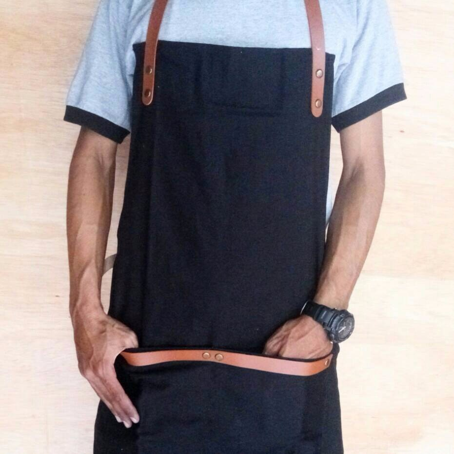 Best Quality Apron Celemek Barista Barber Chef Canvas Premium N Barberman Synthetic Leather Shopee Indonesia