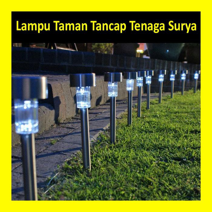 Lampu Taman Tenaga Surya LED Tancap Solar Cell Power Stainless | Shopee Indonesia