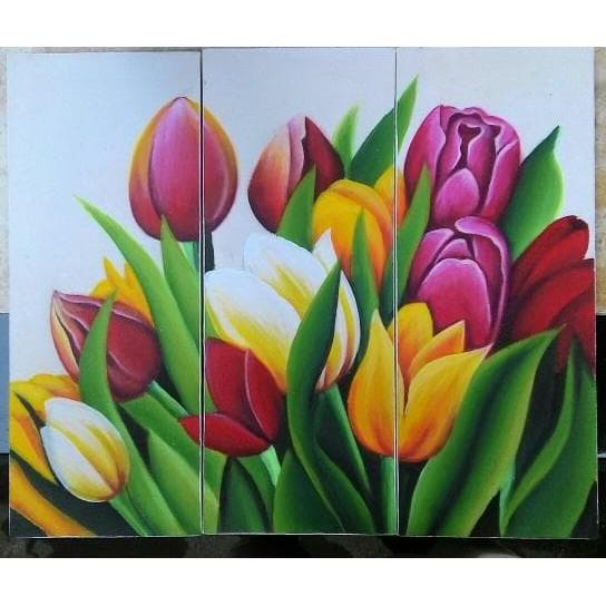 New Lukisan Panel Bunga Tulip 3 In 1 Lukisan Rumah Kantor Hadiah