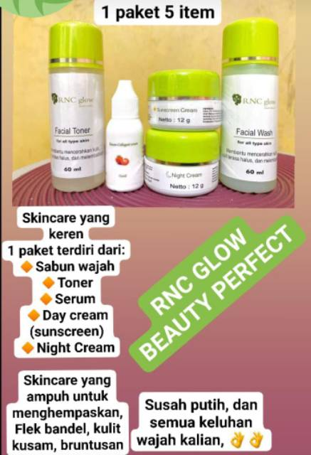 Paket Lengkap Skincare Rnc Glow Shopee Indonesia