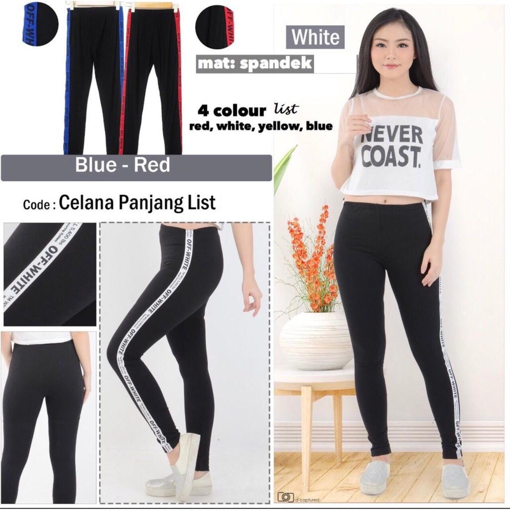 Celana Scuba List Offwhite Panjang Shopee Indonesia Nagita Pants Zara Side Stripe Hitam Merah Bahan