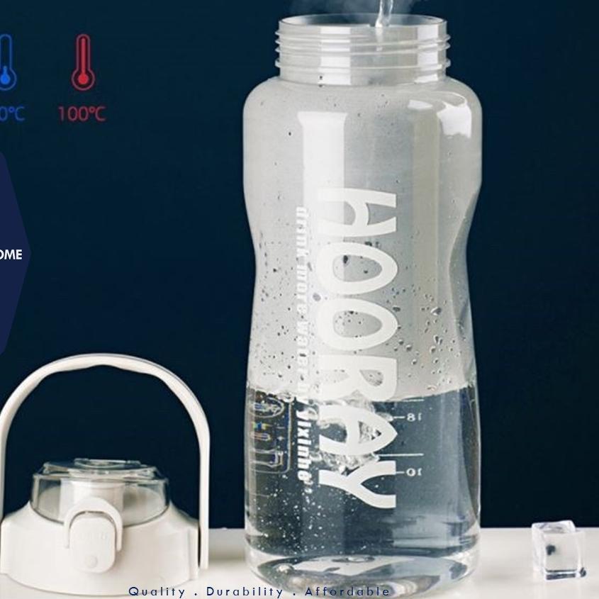 Sangat Nyaman.. Botol Minum Jumbo Besar 2 liter 2L Hooray BPA Free Straw Sports Bottle With Handle P