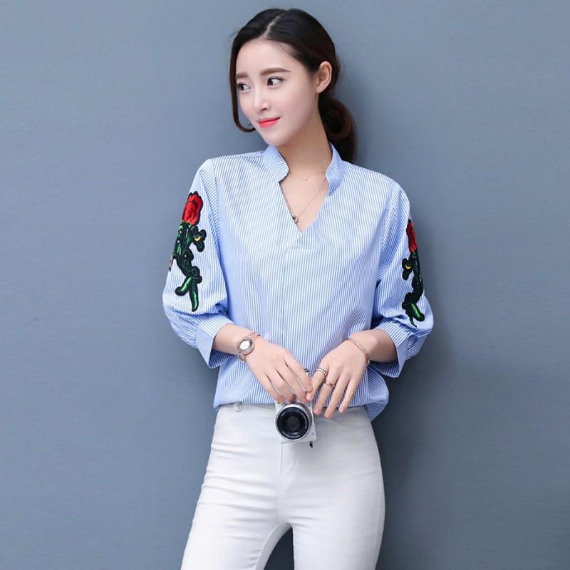 Kemeja Bordir bunga model ikat depan untuk wanita lengan pendek kerah bordir bahan katun polos | Shopee Indonesia