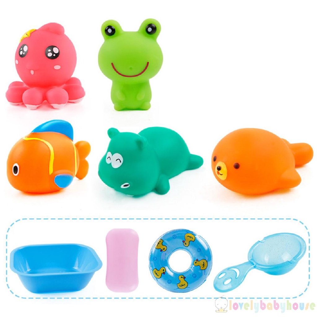 Soft Rubber Bath Toys Cute Animals Family Bathtub Pals Squeeze Music Baby Toys