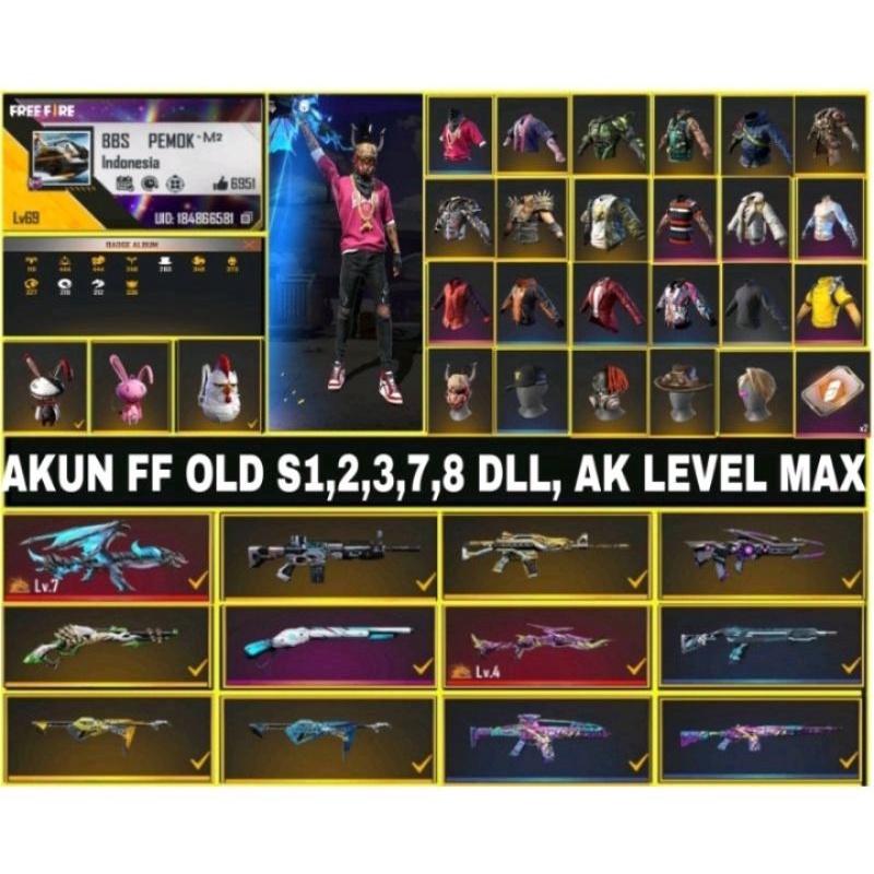 (MURAH BANGET) Akun FF OLD S1,2,3,7,8 DLL AK LEVEL MAX