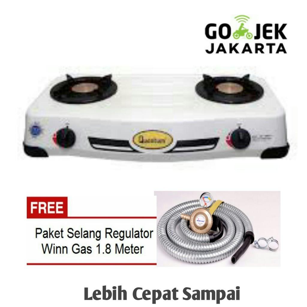 Paket Kompor Gas Quantum Qgc 101r Selang Regulator Meter Meteran Qrl 03 Shopee Indonesia