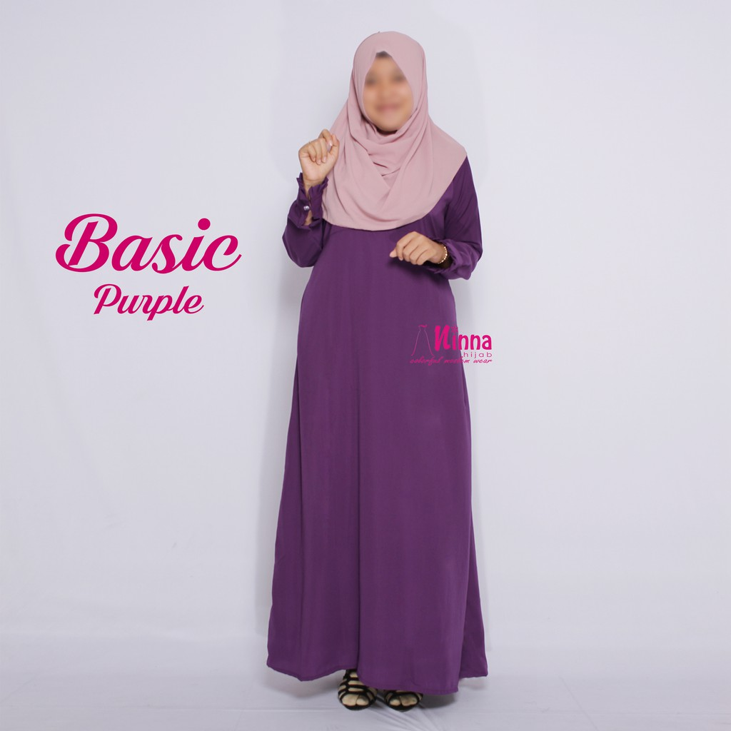 Gamis dress polos warna purple ungu wolfis wolpeach wolvis solo