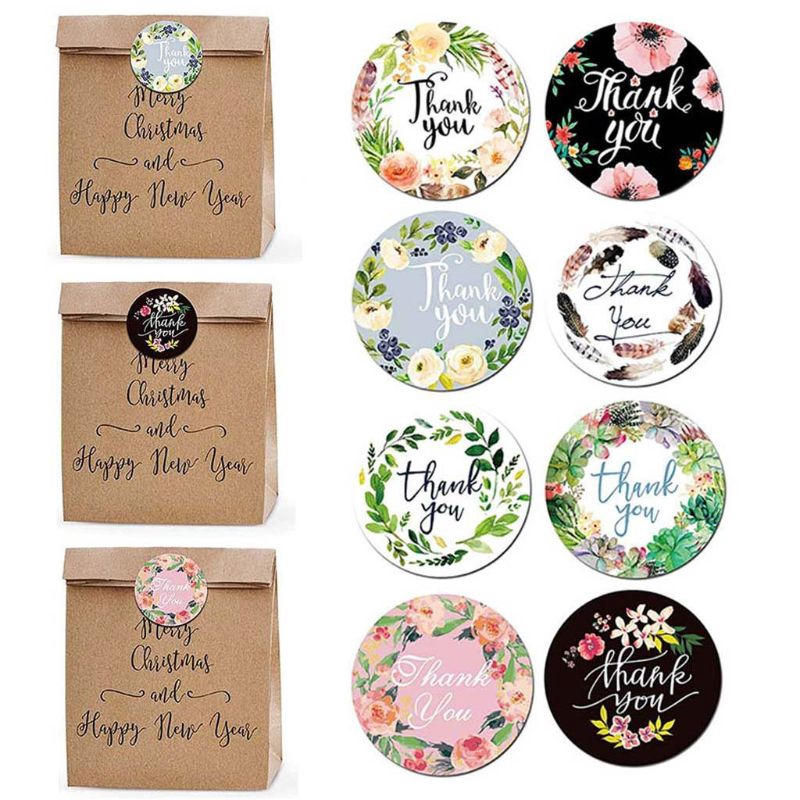 500pcs Roll Thank You Stickers Handmade Sticker Circle Stationery Seal Labels Thank You Sticker Shopee Indonesia