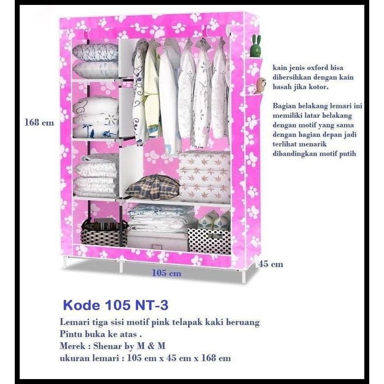 Lemari Kain Oxford Motif Pink Telapak Kaki Beruang 105 Nt3 Source Jual Beli .