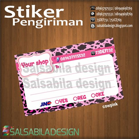 Cow Print Pink Sticker Stiker Label Pengiriman Shopee Indonesia