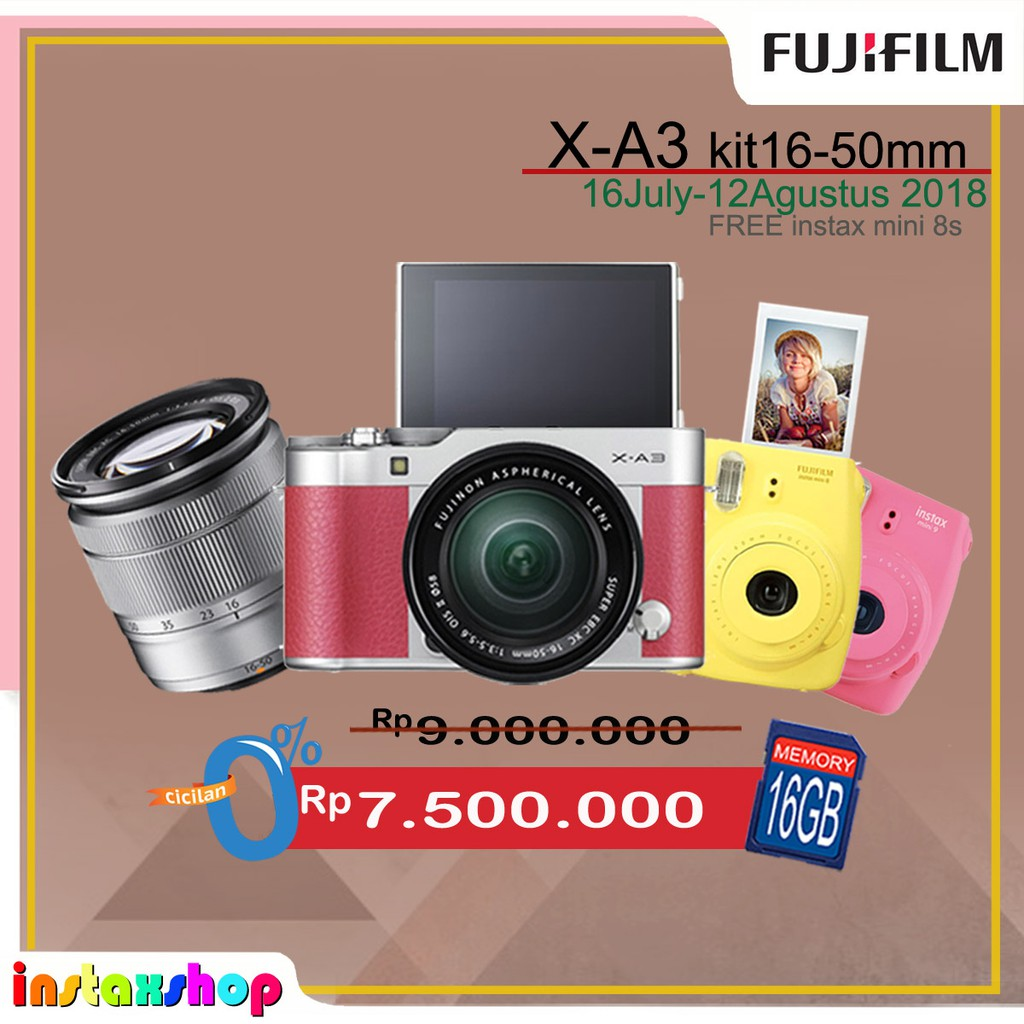 Fujifilm Xa10 X A10 Kit 16 50mm Pink Shopee Indonesia A5 15 45mm F 35 56 Ois Pz Brown Pwp 35mm 2