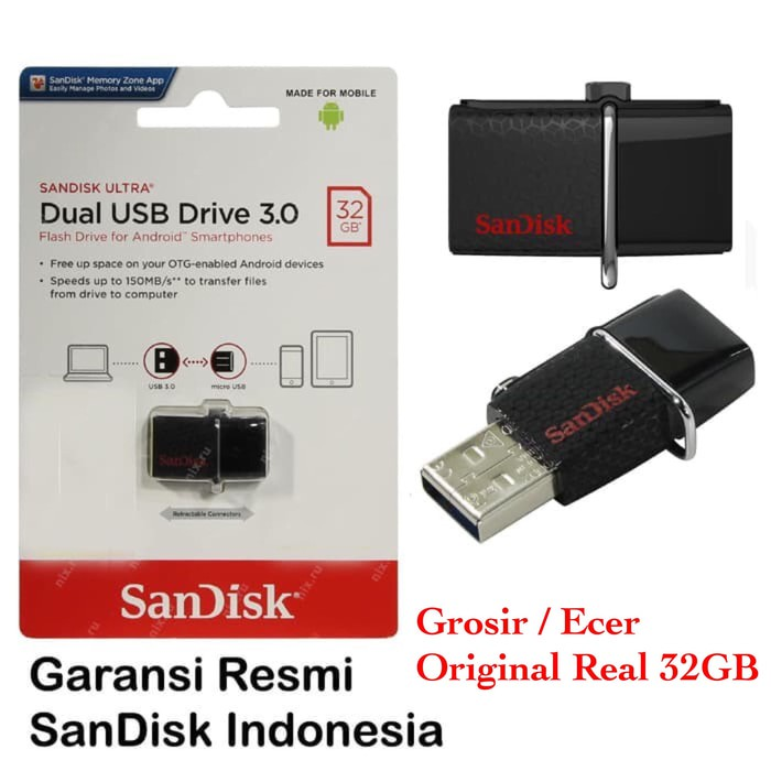 SANDISK FLASHDISK Sandisk OTG ULTRA DUAL DRIVE USB 3.0 128GB / USB OTG | Shopee Indonesia