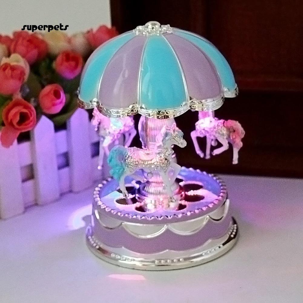 New Merry-Go-Round Music Box Christmas Birthday Gift Carousel Music Box Purple