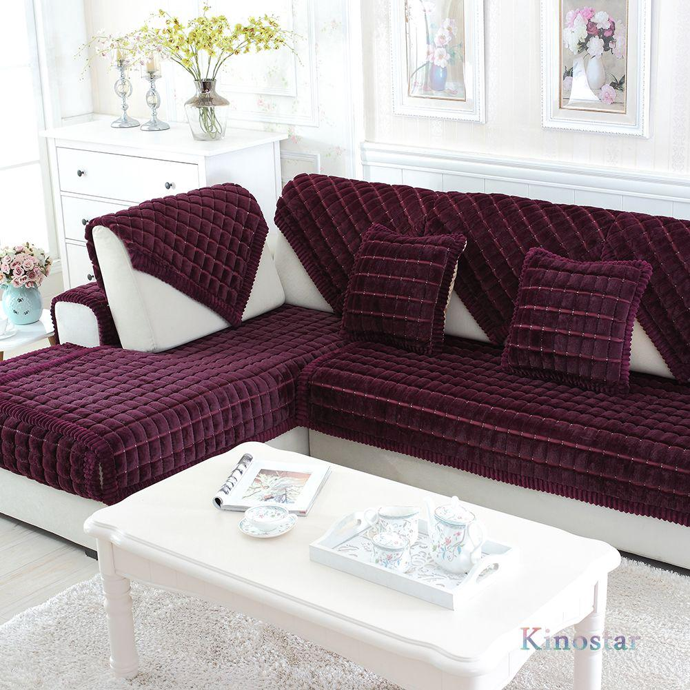 Sofa Cover Sofa Sectional Furniture Protector Couch Covers Purple Plaid  Plush [Kinostar]