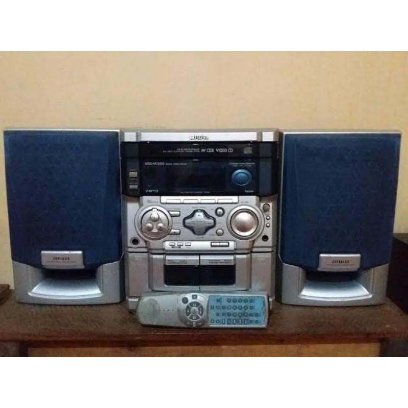 MINI SPEAKER HOME THEATER KECIL AIWA NSX VC220 CD MP3 VIDEO PLAYER TAPE CASSETTE VINTAGE KASET JADUL