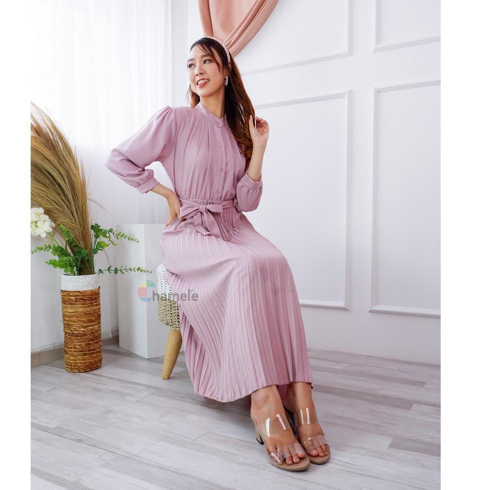 ✧ Chamele - Vischa Long pleats dress plisket Natal / Imlek Wanita PREMIUM (bisa bumil & busui ) 2384