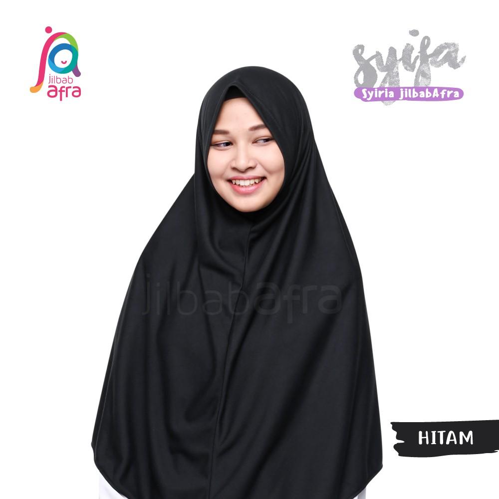 Jilbab Afra Syifa Hitam Bergo Tanpa Pet Bergo Kaos Syiria Syar I Kerudung Instan Shopee Indonesia
