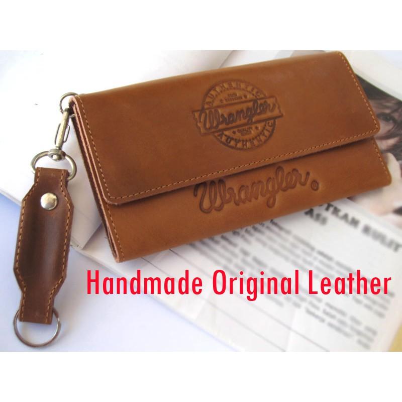 Dompet kulit panjang pria wanita tan pull up logo persib asli garut ... 470bb2213a