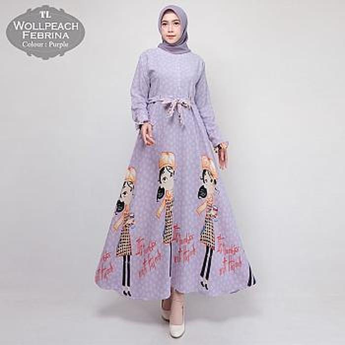 Stelan Gamis Overal Cantik Versace Import Maxi Febrina Purple Tl Gamis Wanita Wollpeach Impo 53hoy Shopee Indonesia