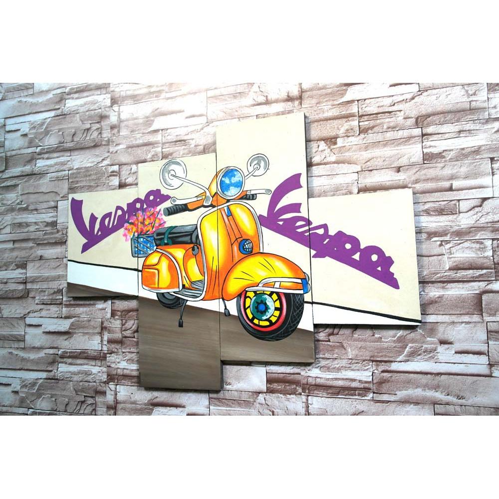 CTR P4EV Lukisan Modern Vespa Hiasan Dinding Dekorasi Rumah