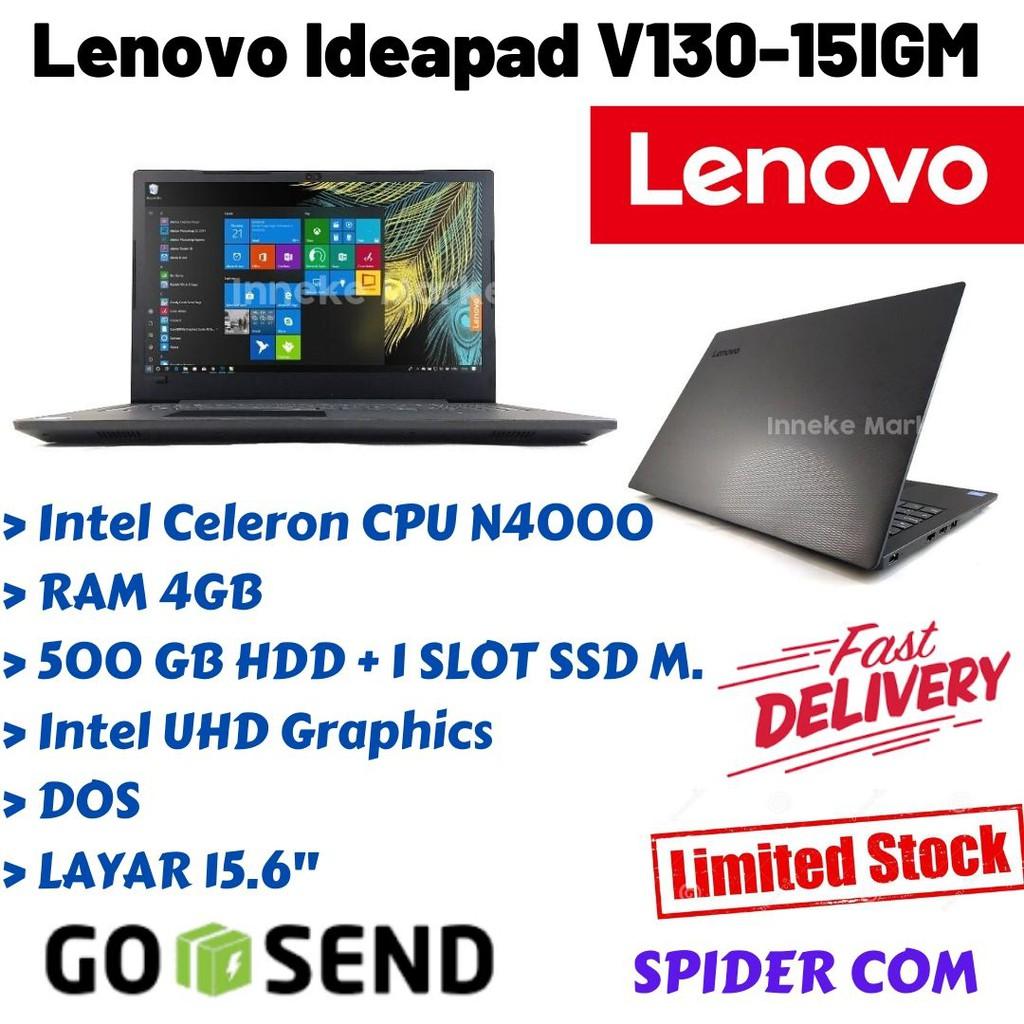 Lenovo Ideapad V130 15igm Cel N4000 4gb 500gb 1 Slot Ssd M 2 Nvme Intel Hd Dos Dvd Shopee Indonesia