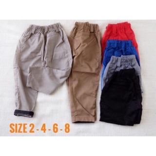 Celana Panjang 3/4 Pinggangnya Karet Warna Navy Bahan Katun Korean Casual | Shopee Indonesia