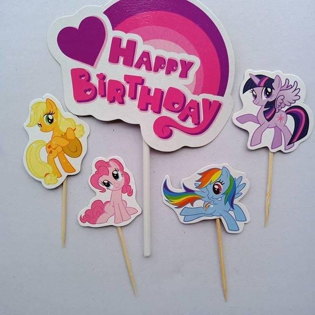Topper Litlle Pony Hiasan Tusuk Happy Birthday Litle Pony Shopee Indonesia