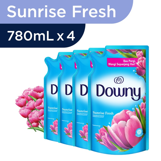 Downy Sunrise Refill Biru 780ml Paket Isi 4 Shopee Indonesia