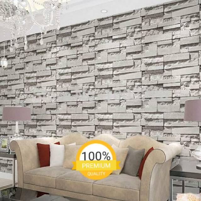 Wallpaper Dinding Murah Motif Batu Amal Abu Kamar Tidur Ruang Tamukeluarga Minimalis Simple Mewah