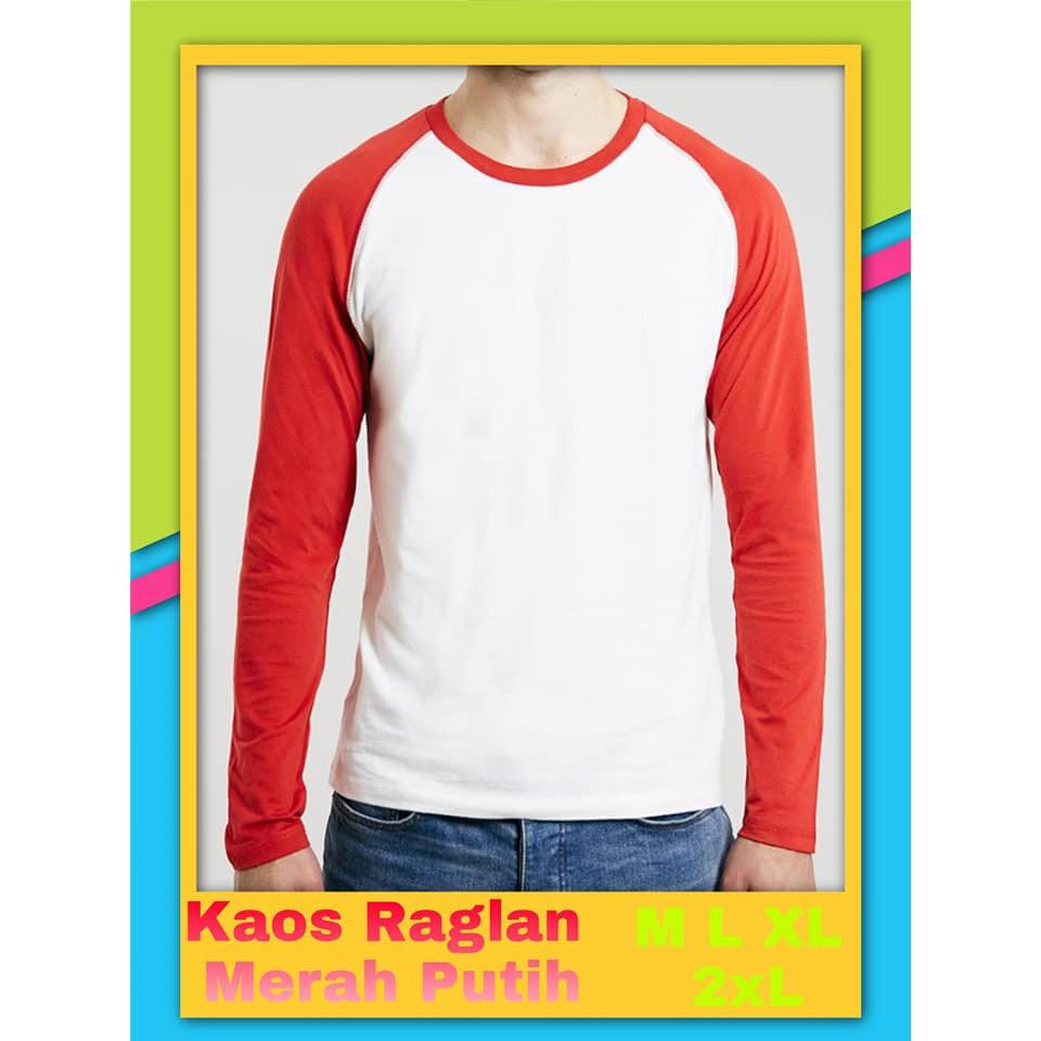 Kaos Raglan Merah Putih Kaos Merah Putih Raglan Merah Putih Baju Merah Putih 17 Agustusan Shopee Indonesia