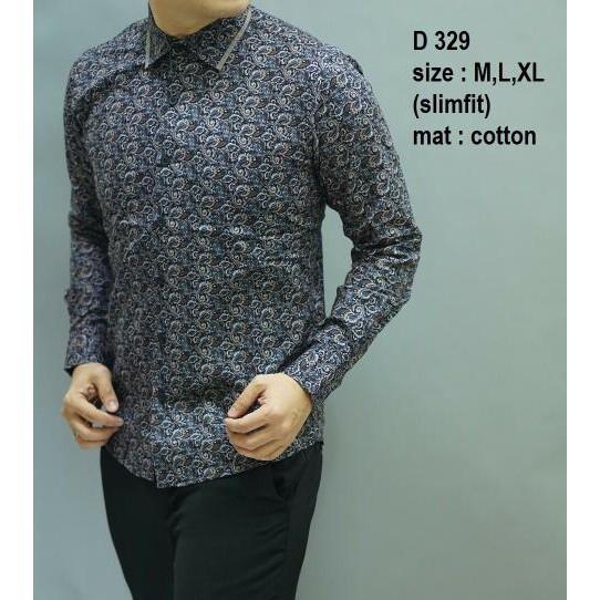 Batik Kemeja slimfit pria Baju batik cowok lengan panjang D 388 | Shopee Indonesia