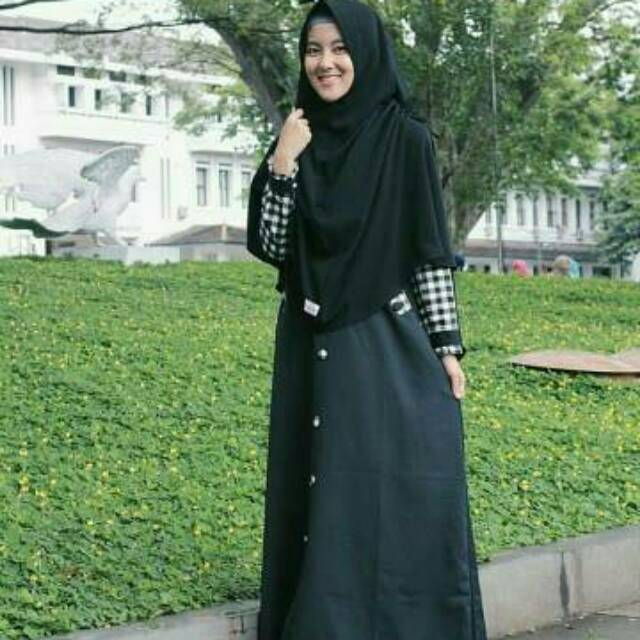 Gamis Kotak Kotak Asoka Busana Muslima Muslimah Syari Remaja Tanah