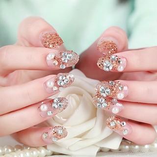 Kuku palsu pengantin false fake nails GGPO panjang oval ombre gold flower diamond glitter nail art thumbnail