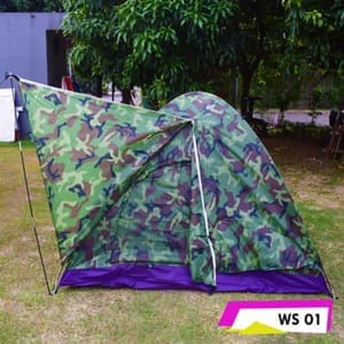 Matougui WS001 Tenda Camping Hiking Loreng Kamuflase Double Layer Kapasitas 3 / 4 Orang | Shopee