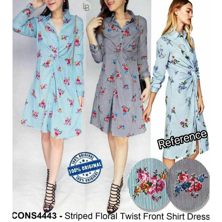 1a24fcfcd31f1 JUAL FORMAL DRESS BUNGA CANTIK STRIP FLORALS TWIST FRONT SHIRT PROMO |  Shopee Indonesia