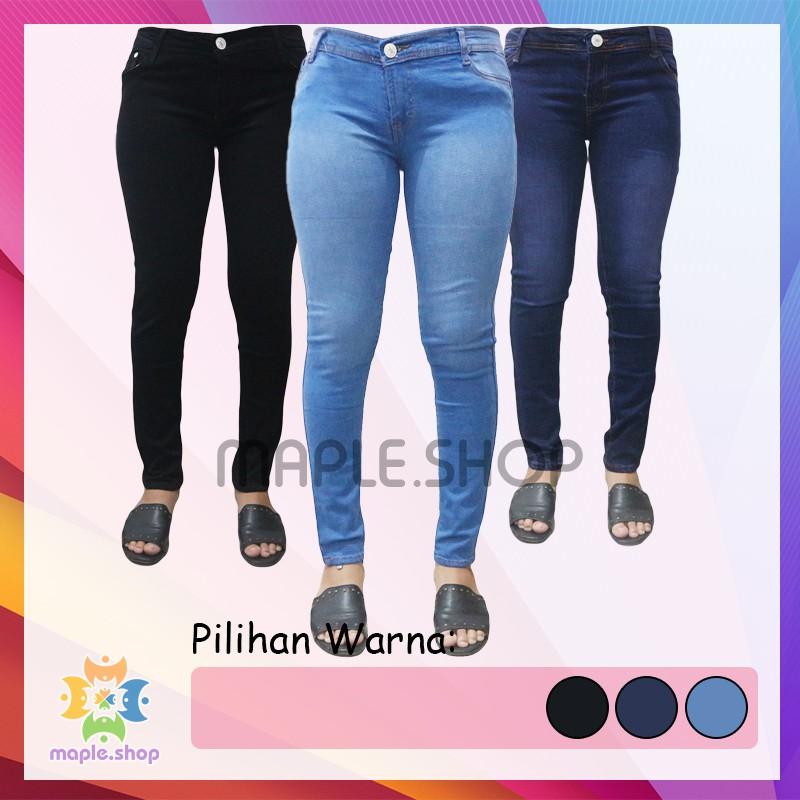 Celana Jeans Celana Levis Celana Denim Slimfit Skinny Ketat Cewek Wanita Hitam Biru Dongker Premium Shopee Indonesia