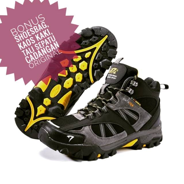 c77b3a98d8a Promo ! Sepatu gunung snta 481 black grey original banyak bonus/ sepatu  tracking / hiking /adventure