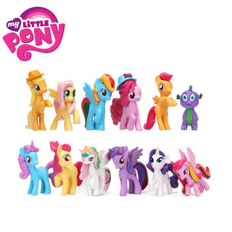 12pcs   set My Little Pony Mainan Mini Pony PVC Aksi Angka Set Rainbow Dash   193f1b037d