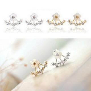 LRC Anting Tusuk Elegant Color Diamond&flower Decorated Simple Design Alloy Stud Earrings.