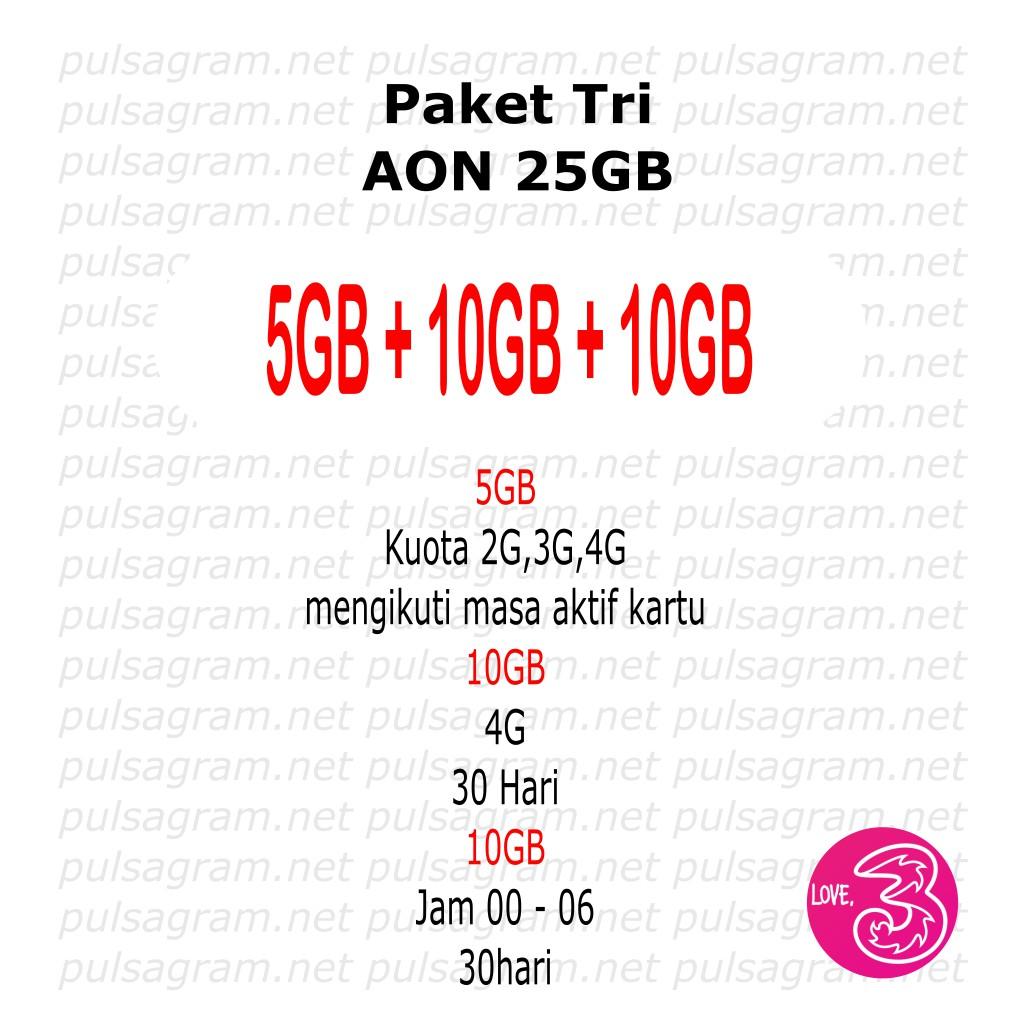 Paket Aon 10gb Extra 40gb Shopee Indonesia Kartu Perdana Tri Three 3 Internet Reguler