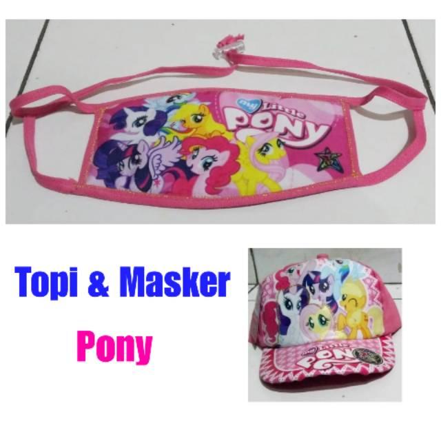 Paket Topi Masker Anak Perempuan Cewek Karakter Motif Gambar Kartun Kuda Pony Poni Kecil Pink Lucu Shopee Indonesia