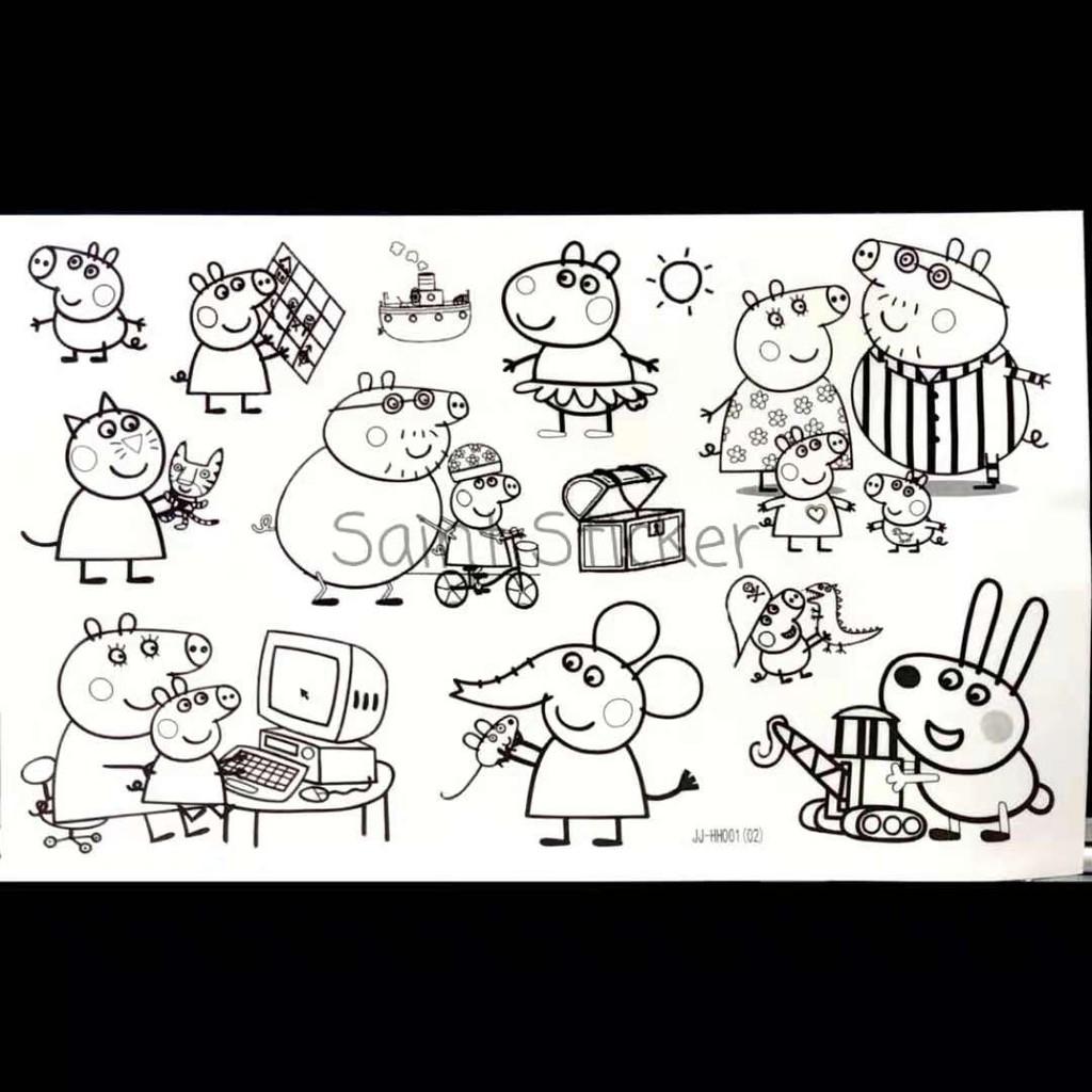 Buku Stiker Anak Sticker Book Gambar Tempel Karakter Kartun Peppa Pig