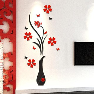 DIY Vase Flower Tree Crystal Arcylic 3D Wall Stickers Decal Home Décor