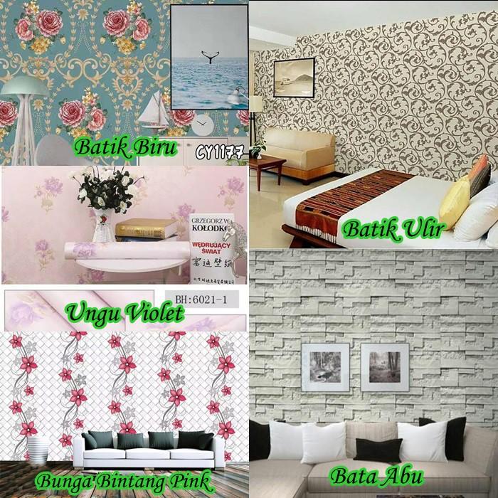 Wallpaper Dinding Desain Sendiri  gos wallpaper dinding 10 meter x 45cm motif laris dekorasi rumah
