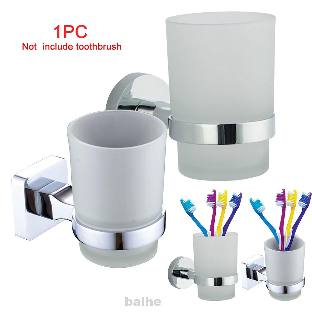Toothbrush Holder Organizer Wall Mounted Accessories Stainless Steel Square Glass Cup Shopee Indonesia