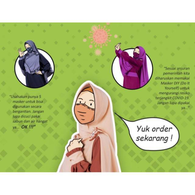 Masker Kain Hijab Tali Karet Motif Bunga Masker Hijab Shopee Indonesia