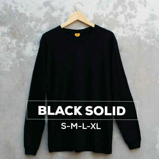 Baju Kaos Polos Tangan Lengan Panjang BLACK SOLID Hitam Bandung Pria Cowok   Shopee Indonesia