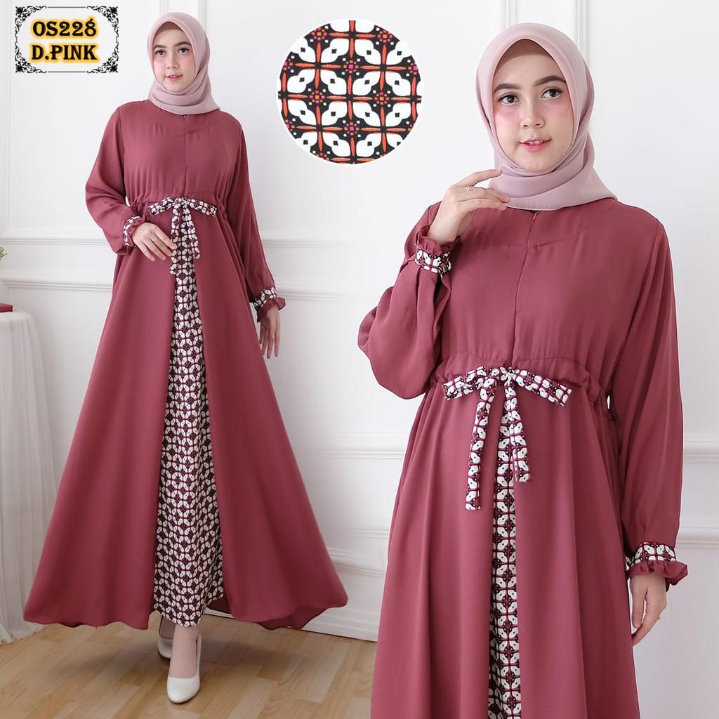 Gamis Wollycrepe Os228 Dark Pink Kombinasi Batik Gamis Remaja Gamis Polos Gamis Cantik Gamis Realpic